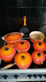 Le creuset pans and casserole pot and frying pan