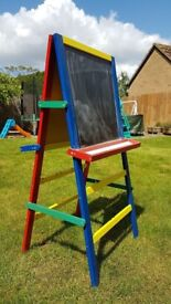 Kids childrens easel chalkboard & whiteboard with paper roll and storage