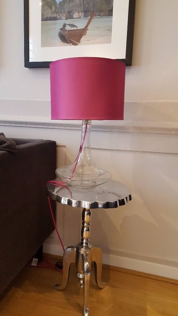 2 Contemporary Table Lamps With Hollow Glass Base And Hot Pink Shade