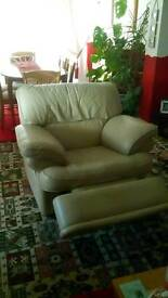 Recliner cream leather chair