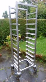 Stainless steel tray rack on wheels casters