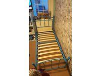 Single Blue Metal Bed Frame