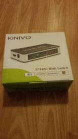 Kinivo 501BN Premium 5 port High speed HDMI switch with remote 1080p