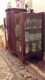 Cocktail cabinet and glassware £70