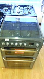 HOTPOINT silver 60Cm Gas Cooker in Ex Display which may have minor marks or blemishes.