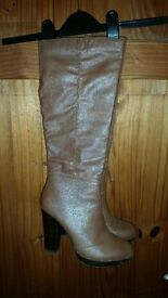 knee high brown faux leather boots size 5. Worn once