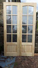 Pine glazed internal french doors