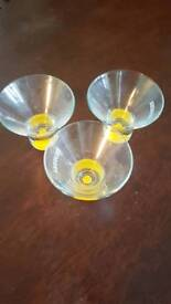 3 retro Absolut martini glasses