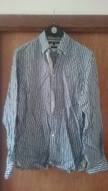 NEW Tommy Hilfiger men's Small-Medium shirt, light blue/white striped
