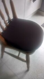 4 brown padded dining chair seat cushions