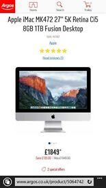 "apple mac 27"" 8gb as new"