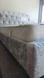 NEW Double crushed velvet Bed and Luxury ( ortho or Memory ) mattress