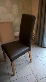 Brown Leather Chairs x 6