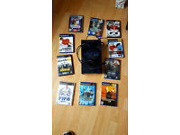 PS2 Console Not working spares or repair comes with 10 games , check photo for titles