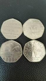 50p coins.