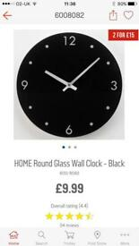 Black glass clock brand new in box