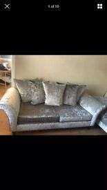 Immaculate Two 3 seater crushed velvet sofas/footstool for sale! Petfree, smokefree child free home.