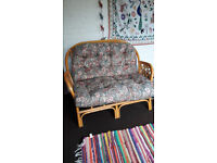Bamboo upholstered 2 seater sofa and two armchairs