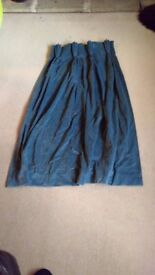 Blue velvet heavy duty curtains, fully lined H120cm x W52cm