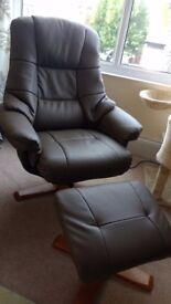 Swivel recliner chair + stool from Harveys, 5 months old