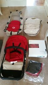 Red and beige Bugaboo cameleon pushchair and pram