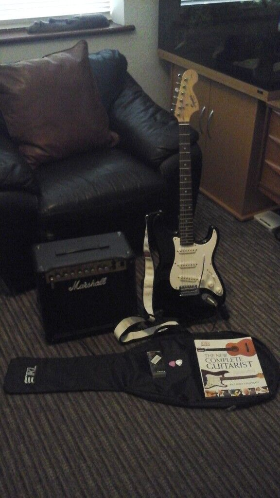 Fender Squire Affinity Strat In Black With Marshall MG15DFX Amp..Full Package With Extras. .