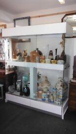 Glass shop window display unit