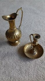 Solid brass vintage candlestick (chamberstick) and jug