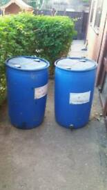 2 x 190ltr water drums