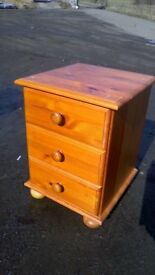 Solid pine three drawer beside unit