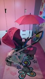 REDUCED. Mamas & Papas Urbo pushchair in raspberry good condition.