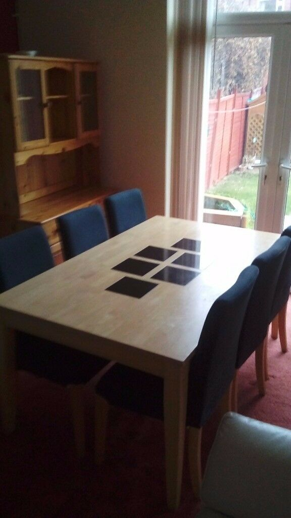 Solid Wood Table With Six Chairs For Sale