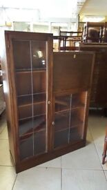 Beautiful Leaded Glass Library Bureau With Key