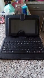 Tablet with keyboard.