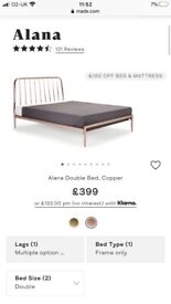 'Made' Copper Alana Double Bed - unboxed - 20% off original price
