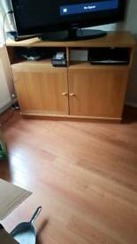 Wooden TV stand with cupboard space