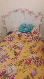 White single bed frame with mattress for sale