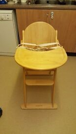 Solid wood high chair. (Mothercare brand) plus other items.
