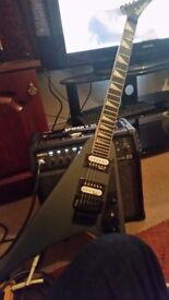 Jackson Guitar and Line 6 amp with leads (Distortion/overdrive pedal included)