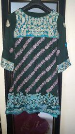 Indian Pakistani designer dress. NEW. Embroidered Peplum with gharara pants and dupatta.