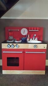 Red Wooden Kitchen including food/utensil bundle (DEREHAM COLLECTION)