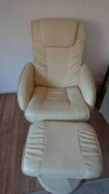 Cream electric massager recliner Chair and stool