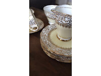 Beautiful Royal Stafford gold detailed tea set for 6 in bone chine, Made in England