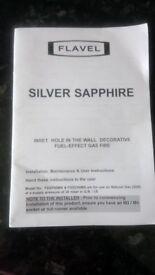 Flavel silver sapphire gas fire.