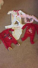 Baby's 0-3 month Christmas sleepsuit, jumper and vest bundle