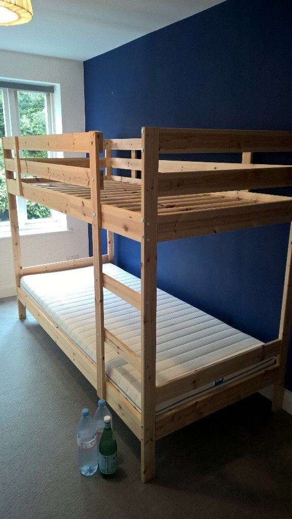 Ikea Mydal Wooden Bunk Bed Complete With 2 X Malfors Mattress