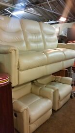 Cream leather sofa with 2 electric chairs