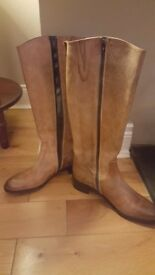 Tan knee boots