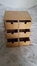 Wooden 6 drawer unit
