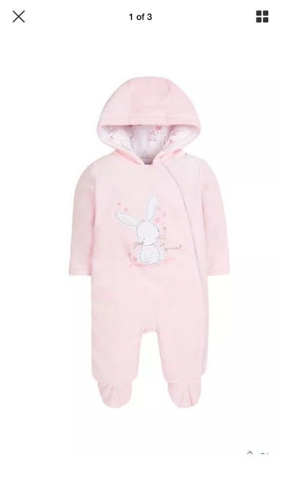eb093ea66 Mothercare baby girl 3-6 velour pramsuit all in one snowsuit
